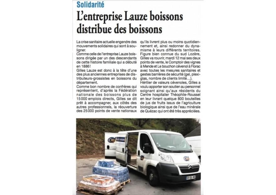 [Solidarité Covid19] - Lauze Boissons soutient le personnel soignant